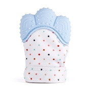 EGLAF Blue Teething Mitten is Teether That Stays on Baby's Hand for Self-Soothing Pain Relief