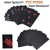 Joyoldelf Waterproof PVC Poker Playing Cards, Deck of Poker Card with Black Backing in Box Great Gift for Card Players Family Party BBQ Game