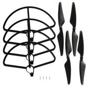 4pcs 2A+2B Propeller Blades & 4pcs Prop Guards for Hubsan H501S H501C X4 Quadcopter Drone, Black