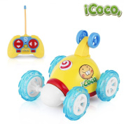 YKS RC Rolling Cartoon Stunt Race Car Toy, 360 Degree Spinning and Flips with Light Flash & Music for Child Kids Toddlers