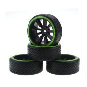 HobbyMarking 4Pcs RC On-Road Car 1/10 Tyres Hard Tyre and Wheel Rims for RC HSP Tamiya HPI Kyosho Traxxas Drifting Car