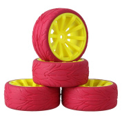 Mxfans Yellow Concave 10 Spoke Plastic Wheel Rim+Red Fish Scale Pattern Rubber Tyre for RC 1:10 On Road Car Set of 4
