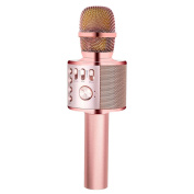 BONAOK Wireless Karaoke Microphone Rose Gold Plus,Valentine's Day Gift 3-in-1 Portable Built in Bluetooth Speaker Machine for Android/iPhone/iPad/Sony/PC or All Smartphone