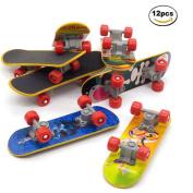 12 Pcs OKOK Professional Mini Fingerboards/ Finger Skateboard, Unique matte surface , Kids Toy Gift Party Favours, Random Pattern