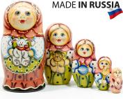 "Russian Nesting Doll - ""Masha"" - Hand Painted in Russia - 6 style variations - Traditional Matryoshka Babushka C (6.75``"