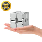 Fidget Finger toy,All-Metal Aluminium Infinity cube Best for Stress and Anxiety Relief and Kill Time.