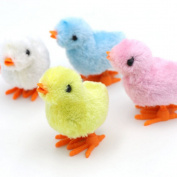 4 Pcs Fluffy Wind up Chicken Walking Toys Dancing Plastic Animal Toy Fun-Filled Classic Educational Wind-Up Clockwork Spring Toys Kids Gift Party Favours Assorted Colours by Jiabetterniu