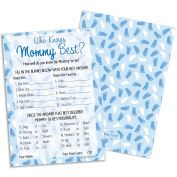 Who Knows Mommy Best - Blue Boy Baby Shower Game Cards