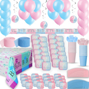 Gender Reveal Party Supplies for 24 - Two Size Plates + Cups + Napkins + Cutlery + Tablecloths, Balloons + Banner + Hanging Decorations + Streamers - Ultimate Baby Shower Supply & Decorations Set