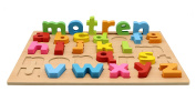 Motrent Stand Up Wooden Lowercase Alphabet Puzzle Board Toy for Kids