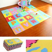 Transer Kids Puzzle Alphabet, Numbers, 36 Tiles EVA Foam Play Mat
