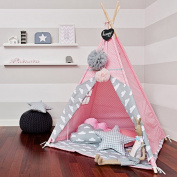 Little Dove Princess Indian Teepee Tent Children Playhouse Kids Play Room Furniture Top Lace with Hanging Pompoms Ball Style Pink Dot with Thick Mat