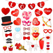 Large Valentine's Day Photo Booth Props Kit [36pcs] Romantic Posing Prop Party Decorations Supplies for Wedding Gift Bridal Shower Bachelorette Girl Night Out Games, Rose Love Heart Bear Unicorn