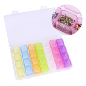 BONNIESTORE 1 Pc Plastic Nail Art Storage Box Colourful Empty Nail Jewellery Bead Container Holder Nail Art Organiser Transparent 28 Slots