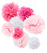 Happium - 12x Pink Tissue Paper Pom Poms Flower Ball for Party Decoration