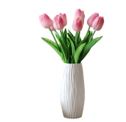 Visork Artificial Tulip Flower Latex Real Touch Artificial Flower With Leaves Floral Bouquet For Wedding Party Decor 10 Pieces Pink