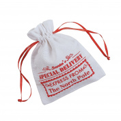 12 x Mini Canvas Drawstring Santa Bags