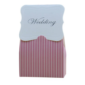 iShine Lovely Wedding Favour Boxes 50pcs Cute Pink Striped Candy Boxes Gift Boxes