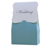 iShine Lovely Wedding Favour Boxes 50pcs Romantic Blue Dotted Candy Boxes Gift Boxes