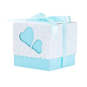 iShine 50pcs Paper Candy Sweet Gift Boxes Christening Baby Shower Party Bomboniere Favours Box with Ribbons Double Hearts Prints
