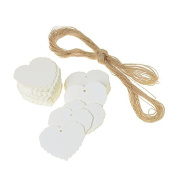 iShine 100pcs Gift Tags, Retro Kraft Paper Heart Shaped Tags with Jute Twine for Gifts Crafts and Price Tags