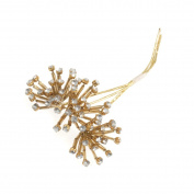 3 Wire Diamante Buggle Bead Gold Pick