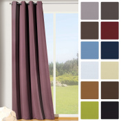 Gardine Thermal Blackout Curtain with Eyelets, 245 x 135 cm (Height x Width), High Quality mauve-aubergine