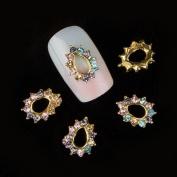 Profusion Circle 10pcs Nail Art Glitter Rhinestone Manicure Charm Decorations Bowknot Crown Star Heart Lock