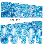 Clear Rhinestones Blue Designs Watermark Full Sticker Decals Nail Art Decorations For Nail Beauty