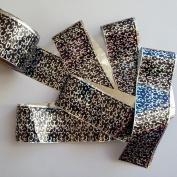 CUTE CURLS Black Silver Holographic Nail Art Foil Decoration Wrap Transfer