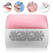 Nail Vacuum, Nail Machine Vacuum Cleaner Collector UV Gel Nail Dryer Machine Professional Beauty Vacuum Dust Extractor for Nail Table Vacuum Extraction Machine 220V / 50HZ, With 3 Dust Bags, Pink