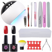 Coscelia 24W Nail Dryer Lamp Nail Art Set 2 colour Gel Polish 10ml