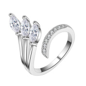 AIUIN Flash Diamond Silver Ring Crystal Adjustable Open Rings Wedding Jewellery for Women X 1Pcs