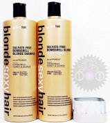 SEXY HAIR Hair Sulphate-free Bombshell Blonde Shampoo 1000ml & Conditioner 1000ml Duo Set + FREE PUMPS Sulphate free, Chamomile, Honey, Quinoa, Bright Hair, Hydrated and Strong Hair