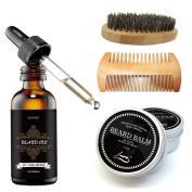 Aptoco Beard Grooming and Trimming Kit for Men Care, Beard Brush, Beard Comb, Unscented Beard Oil and Beard Balm