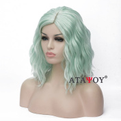 ATAYOU® Wavy Short Fluorescent green Colour Full Bangs Soft Touch Bob Wig