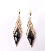 Black & Gold Vintage Style Earrings Drop Great Gatsby 1920s Art Deco Stud 4566