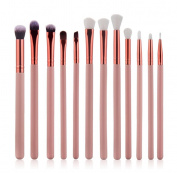 Make-Up Brush Set, DELOITO 12 PCs Multifunctional Eye Cosmetic Brushes Set Rose Golden Toiletry Kit