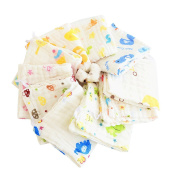 Elecmotive Baby Face Cloth Cotton Baby Hand Towels 30 x 30 – Pack of 10
