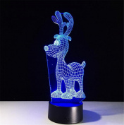 DREAM LAMP ChristmaS Elk Shape 3D Illusion Lamp Touch Remote Control Decor Lights Optical Visual LED Night Light House Desk Office Decor kids Gift