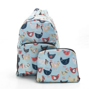 Folding Backpack Rucksack Country Style Chickens Print