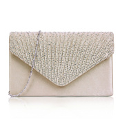 HDE Women Rhinestone Frosted Clutch Bag Classic Envelope Evening Shoulder Purse