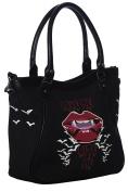Banned Apparel Bite Me Bat Lips Horror Gothic Vampire Handbag Black