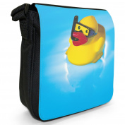 Rubber Duck Small Black Canvas Shoulder Bag / Handbag