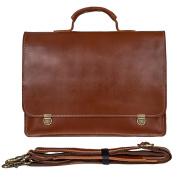 Mens Business Briefcase Vintage Leather Laptop Shoulder Messenger Bag Brown