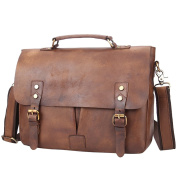 Business Briefcase, Berchirly Retro Real Leather Shoulder Messenger Bag Purse For Work, Travel Vintage Coffee