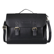 Crossbody Shoulder bags Messenger Handbags Satchel Bags Leather Briefcases Fits 33cm laptop bags for Men and Women - Black