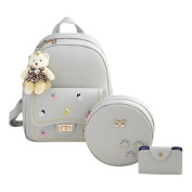 Domybest 3pcs/Set Women Girls Casual Bags Sets Embroidered Backpack Crossbody Bag Clutch Key Bag