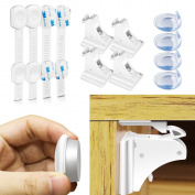 Morpilot Baby Safety Magnetic Cabinet Locks   Safety Baby Locks   Baby Proofing Corner Guards for Cabinets, Drawers, Fridge and Toilet,Uses 3M Adhesive with Adjustable Strap and Latch System