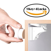 Child Safety Magnetic Cupboard Locks 4 Locks + 1 Key BETENSE Baby Cabinet Locks No Drilling for Kitchen Drawer